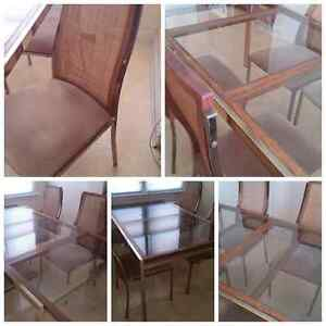 BRASS 'N GLASS DINING TABLE WITH CHAIRS