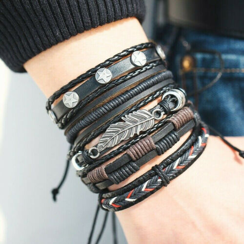 5Pcs Multilayer Mens Vintage Punk Leather Braided Wristband