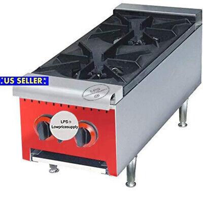 Two Hot Plate Gas Burner Commercial Countertop Range 50000 Btu Restaurant