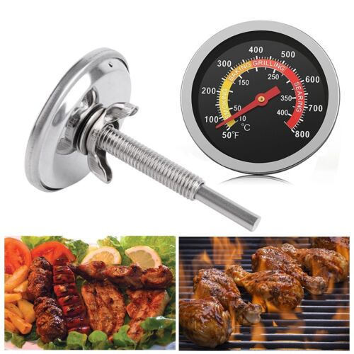 DE 10-400℃ Barbecue Thermometer Gauge Edelstahl BBQ Smoker Grillthermometer NEU