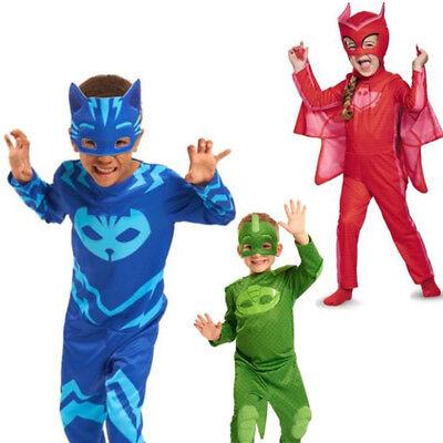 Kinder Catboy Owlette Gekko PJ Masks Fasching  Cosplay Karneval Kostüm Overall