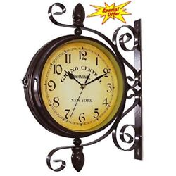 Decorative Wall Clock Rotatable Double Face Grand Central Train Kitchen Room New
