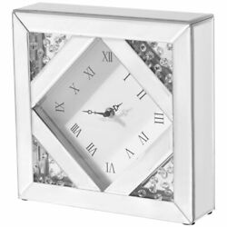 Elegant Decor Sparkle 10 Square Contemporary Clear Crystal Frame Table Clock