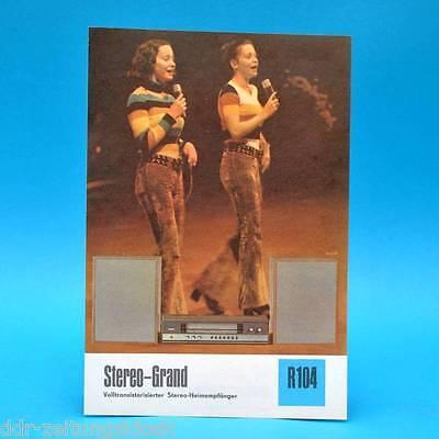 Stereo-Grand Stereo-Heimempfänger 1974 | Prospekt Werbung DEWAG DDR Radio R104 D