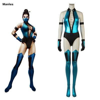Ninja Princess Costume (Mortal Kombat Princess Kitana Costume Cosplay Ninja Halloween Sexy Jumpsuit)