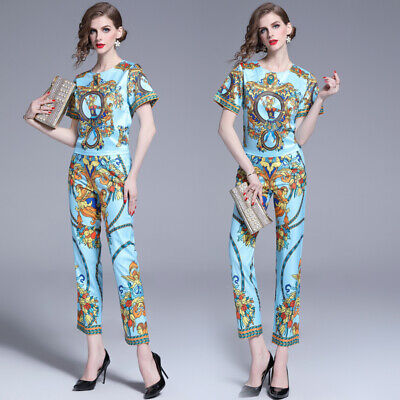 2019 Summer 2PCS Women Sets Runway Baroque Print Top Shirt Pant Suits Outfits - Suits Outfits