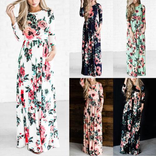 Dress - US Women BOHO Floral Print Beach Dress Lady Evening Party Long Sleeve Maxi Dress
