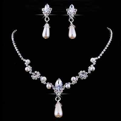 Hot Crystal Pearl Rhinestone Necklace&Earrings Wedding Party Bridal Jewelry Set