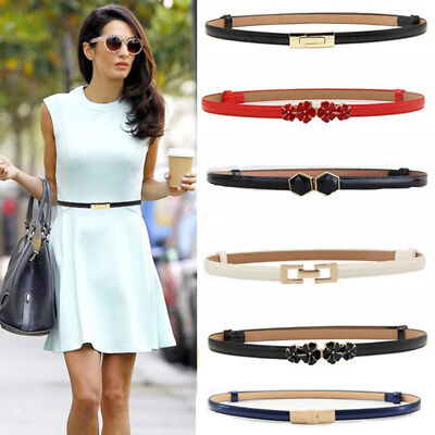 Women Fashion Waist Belt Narrow Stretch Dress Belt Thin Buckle Leather Waistband - Narrow Waist Womens Dresses