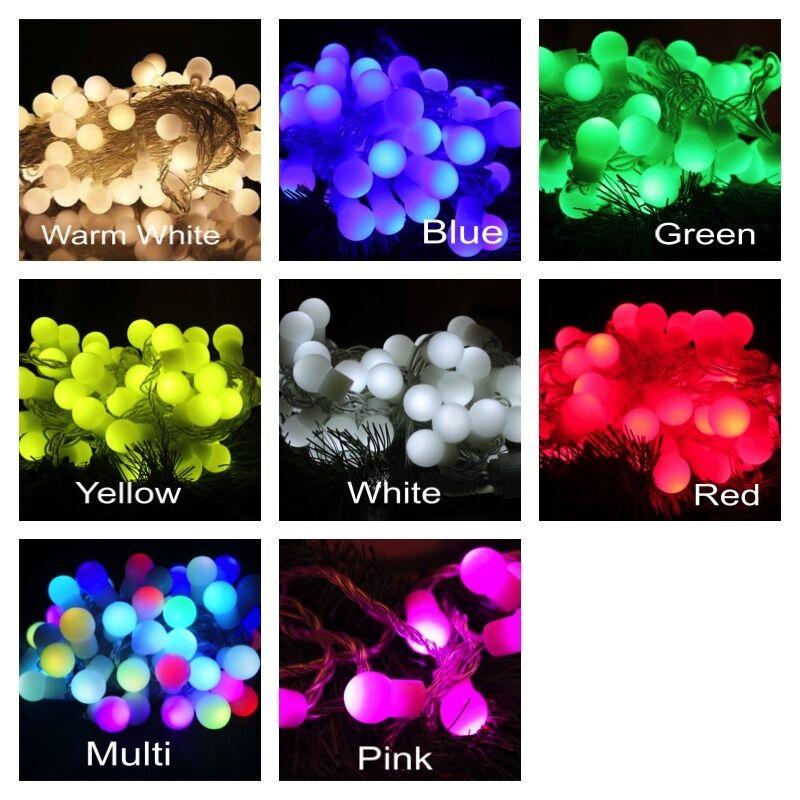 100 LED Globe String Lights Summer Patio Warm White Ball Fairy Light Xmas