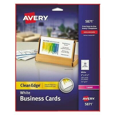Avery Clean Edge Business Cards Laser 2 X 3 12 White 200