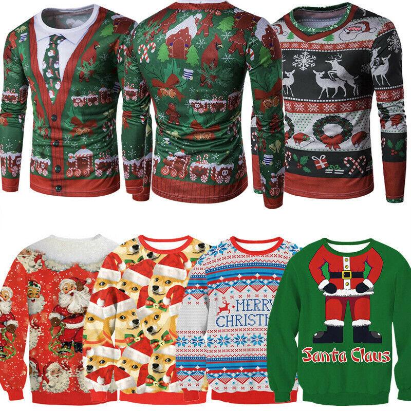 Ugly Christmas Sweater Women Men Xmas Jumper Sweatshirt T-sh