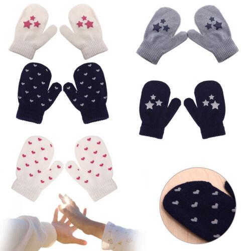 Toddler Pattern Dot Star Heart Knitting Soft Warm Gloves Mittens