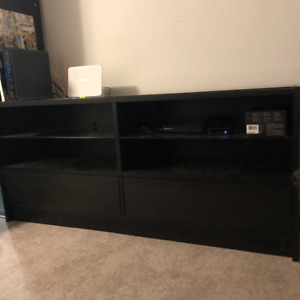 TV Stand. Black-Brown. Glass Top & Shelves.