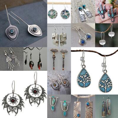 Women 925 Silver Sapphire Dangle Drop Ear Hook Fashion Wedding Gift Earrings