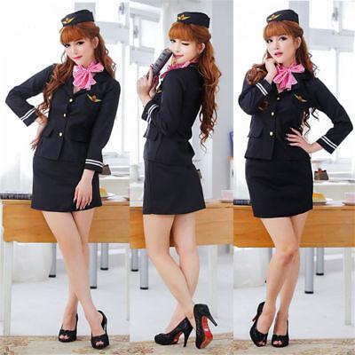 Stewardess Uniform Flight Attendant Air Hostess Costume Halloween Fancy Dress](Flight Attendant Halloween)