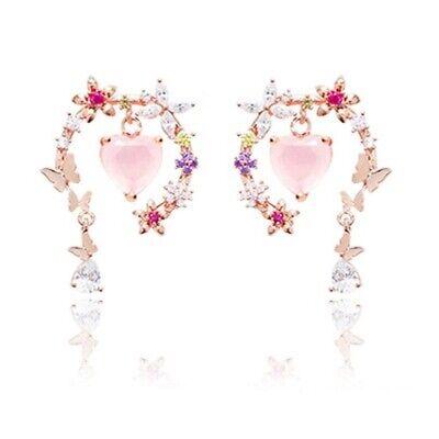 WINGBLING 925 SILVER POST Quivering Heart Rose Quartz Earrings K-beauty
