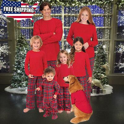 Us Family Matching Christmas Pajamas Set Women Men Kids Sleepwear Nightwear Hot