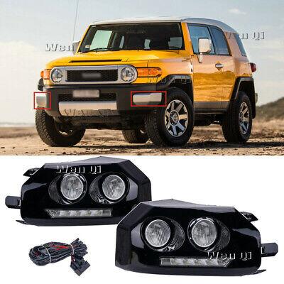 For 2007-2014 Toyota FJ Cruiser Black LED Fog Lamps Daytime Running Lights DRL