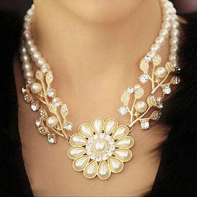 Hot Sale Simulate Pearl Chain Rhinestone Crystal Flower Choker Necklace Jewelry