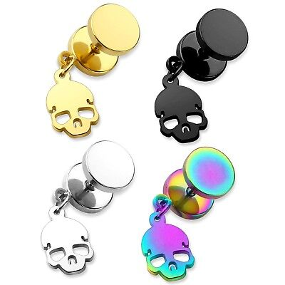 DANGLE STYLE SKULL FAKE PLUGS CHEATER GAUGE EARRINGS PAIR - 4 Colors Available -