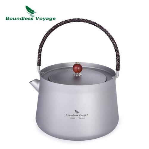800ml Titanium Kettle Lightweight Tea Pot Outdoor Camping Water Kettle with Filt