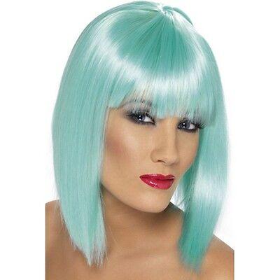 Womens Neon Aqua Glam Wig Short Blunt Fringe Fancy Dress Beauty Model Colour Fun