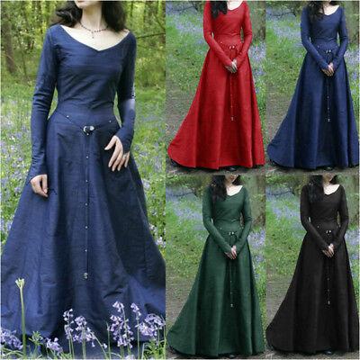 Women Medieval Renaissance Maxi Dress Retro Gown Halloween Costume Kimono Abaya](Kimono Halloween Costume)