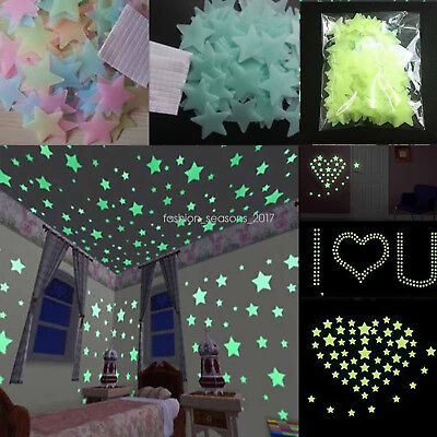 Fast Wholesale 3D Stars Moon Stickers Glow In The Dark Bedroom Wall Room Decor