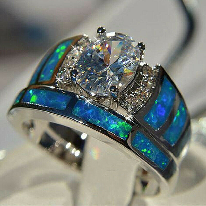 Jewellery - 2pcs/set 925 Silver Rings for Women White Sapphire Jewelry Wedding Ring Sz 6-10