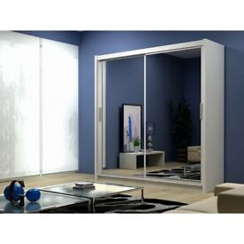 ***AMAZING NEW YEAR SALE*** BRAND NEW BERLIN 2 DOOR SLIDING WARDROBE WITH FULL MIRROR AND SHELVES
