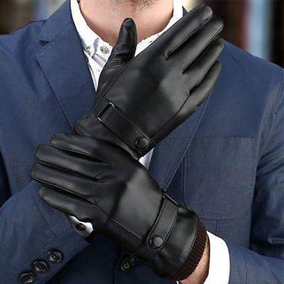 Mens Touch Screen Winter Warm Leather Windproof Driving Fleece Lined Gloves Us