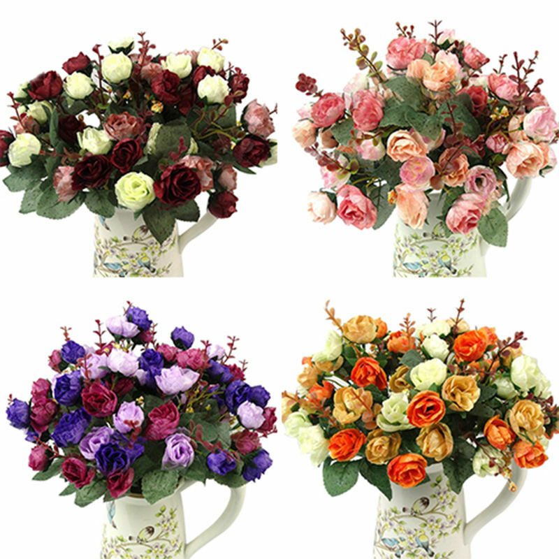Home Decoration - 1 BOUQUET 21 HEAD CONCISE ARTIFICIAL ROSE SILK FLOWER LEAF HOME WEDDING DECOR