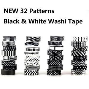 10m-Black-White-Set-Japanese-Washi-Tape-Decorative-Adhesive-Scotch-Masking-Tape