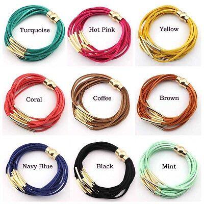 Velvet Leather Silver Gold Copper Tube Multi Layered Strand Magnet Wrap Bracelet Copper Wrap Bracelet