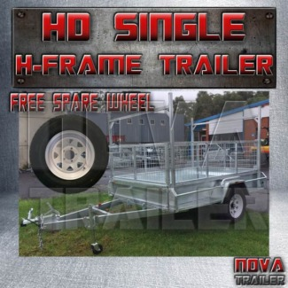 8x5 NoBrake With Cage and H✬Frame Medium Duty Galvanized Trailers