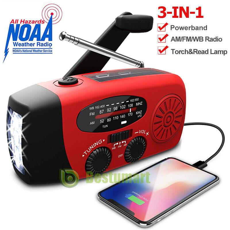 Emergency Weather Radio AM/FM/NOAA Solar Hand Crank Power Bank 3 LED USB Charger