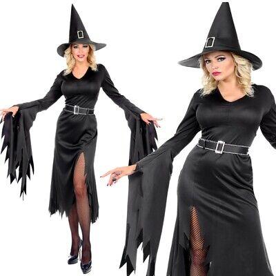 Midnight Hexe Damen Kostüm elegantes schwarzes Kleid + Gürtel & Hut - Halloween