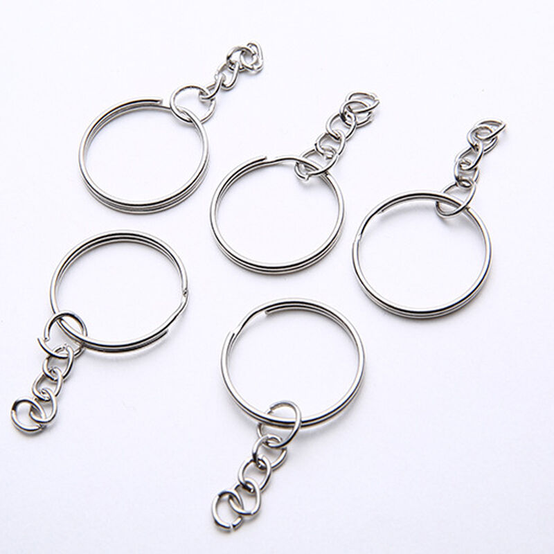 Nickel Plated Key Chain Rings W// Chain /& Split Rings Jewelry Connectors 50 Pcs
