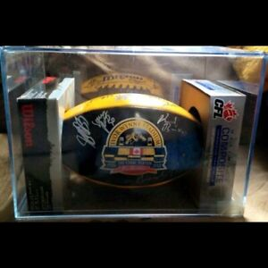 Autographed Hamilton Tigercats football in a hard case