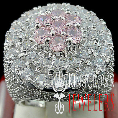 Pink Tourmaline Mens Ring - MENS BIG XXL REAL WHITE GOLD SILVER PINK TOURMALINE JUMBO RING BAND LAB DIAMOND