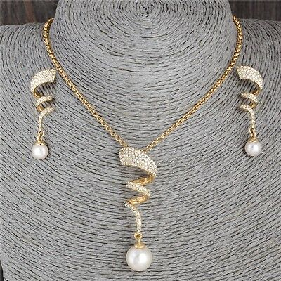 18k gold plated Pearl Women's Jewelry Set Rhinestone Crystal Necklace & Earring