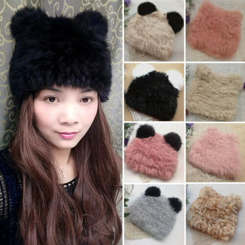 Warm 100% Real Rabbit Fur Panda Ears Knit Hat Top Level Bere