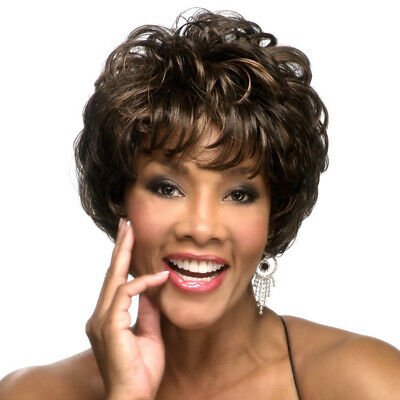 Ombre Black Brown Short Wavy Curly Style Synthetic Afro Wigs for Women With Bang - Brown Afro