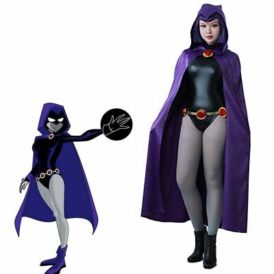 Raven Cosplay Costume (Raven Cosplay Costume Women Purple Cape Jumpsuit Cloak Teen Titans Anime)