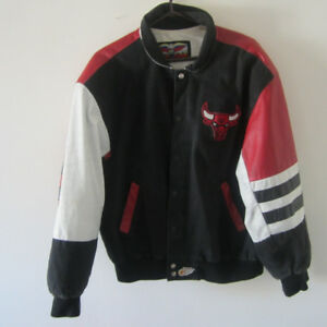 Vintage NBA Chicago Bulls Leather Jacket 90's Retro Embroidered