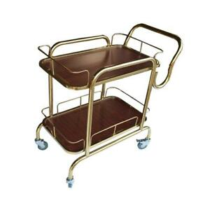 Stainless Steel and wooden Bar Drink Serving Trolley Cart#140015