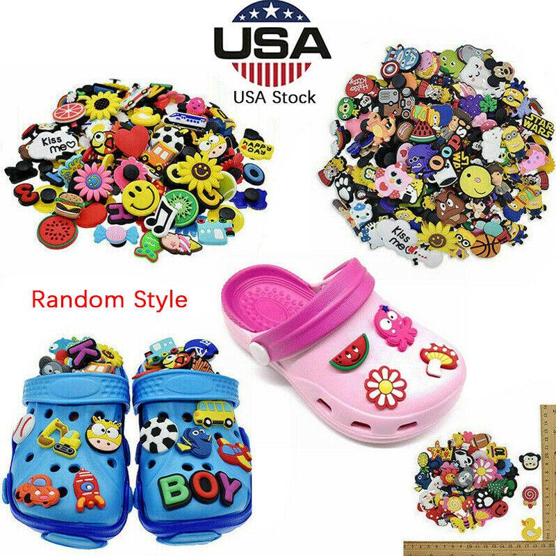 US Lot of 50 100 200 PCS Different Random PVC Shoes Charms For Croc & Wristbands