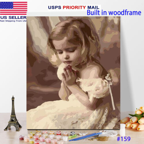 Wooden Framed  DIY Oil Painting Paint by Number Kit for Adults kid Little angel