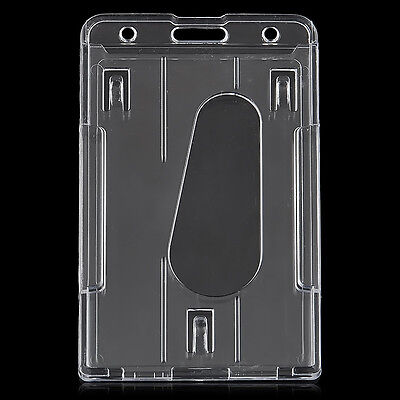 Hot Clear Vertical Hard Plastic Badge Holder Double Card Id Transparent 10x6cm E